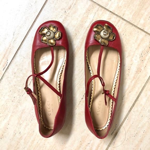 Gucci T-Strap Pearl Ballet Flat, Size 37, US 7
